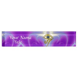 BLUE TALISMAN, purple violet white pink Name Plate
