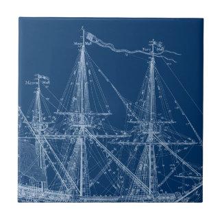 Blue Tall Sailing Ship Blueprint Ceramic Tile