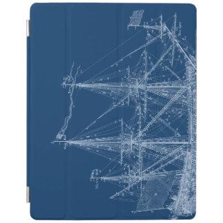 Blue Tall Sailing Ship Blueprint Cover iPad Cover
