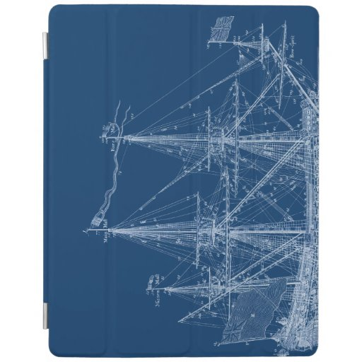 Blue tall sailing ship blueprint cover ipad cover zazzle for Under wraps blueprint covers