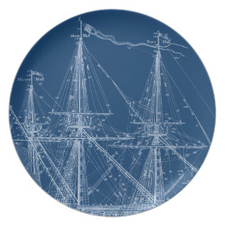 Blue Tall Sailing Ship Blueprint Melamine Plate