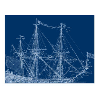 Blue Tall Sailing Ship Blueprint Postcard