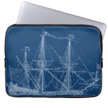 Blue Tall Sailing Ship Blueprint Sleeve Laptop Computer Sleeves