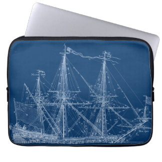 Blue Tall Sailing Ship Blueprint Sleeve Laptop Sleeve