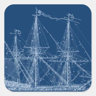 Blue Tall Sailing Ship Blueprint Square Sticker
