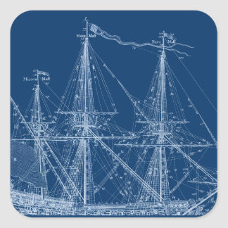 Blue Tall Sailing Ship Blueprint Sticker
