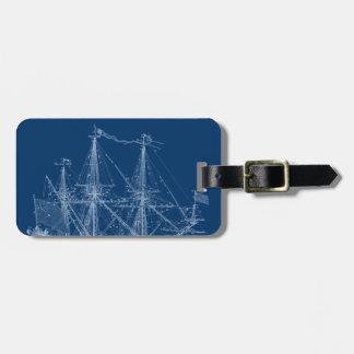 Blue Tall Sailing Ship Blueprint Tag For Luggage
