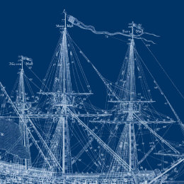 Blueprint wrapping paper zazzle blue tall sailing ship blueprint wrapping paper malvernweather Image collections