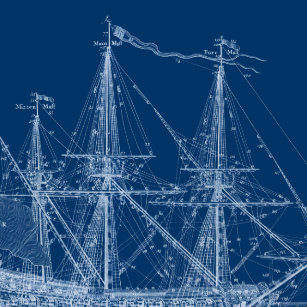 Blueprints wrapping paper zazzle blue tall sailing ship blueprint wrapping paper malvernweather Image collections