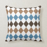 Blue, Tan, and Brown Diamond Harlequin Pillows