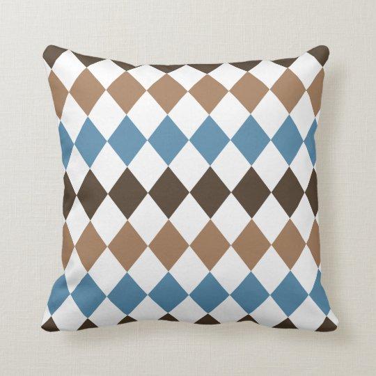 Blue, Tan, and Brown Diamond Harlequin Throw Pillow
