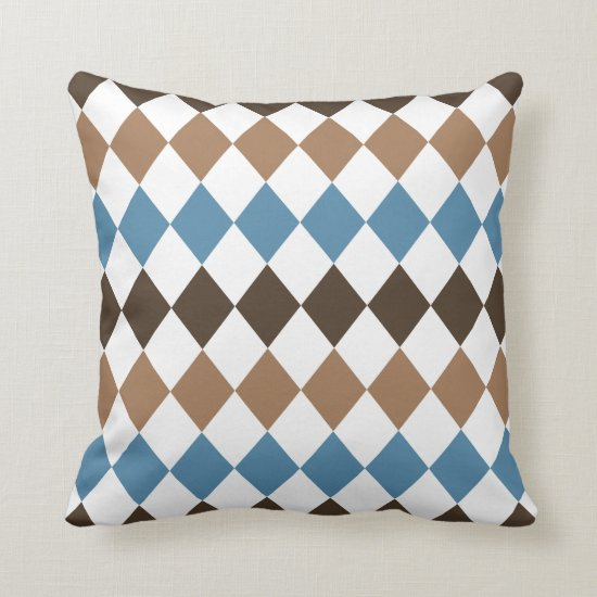 Blue Tan and Brown Diamond Harlequin Throw Pillow