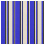 [ Thumbnail: Blue, Tan & Black Colored Lined/Striped Pattern Fabric ]