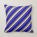 [ Thumbnail: Blue, Tan & Black Colored Lined/Striped Pattern Throw Pillow ]