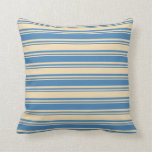 [ Thumbnail: Blue & Tan Colored Lines Pattern Throw Pillow ]