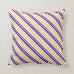 [ Thumbnail: Blue & Tan Colored Pattern Throw Pillow ]