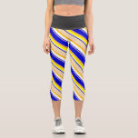 [ Thumbnail: Blue, Tan, Dark Orange, Yellow & White Pattern Leggings ]