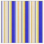 [ Thumbnail: Blue, Tan, Dark Orange, Yellow & White Pattern Fabric ]
