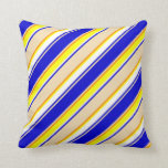 [ Thumbnail: Blue, Tan, Dark Orange, Yellow & White Pattern Throw Pillow ]
