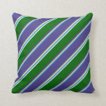 [ Thumbnail: Blue, Tan, Dark Slate Blue, Dark Green, Mint Cream Throw Pillow ]