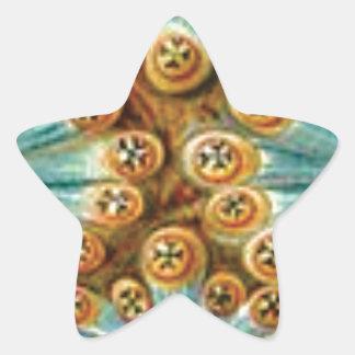 blue tan design of shapes star sticker
