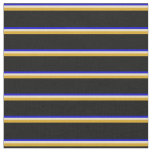 [ Thumbnail: Blue, Tan, Goldenrod, and Black Colored Lines Fabric ]