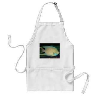 Blue-Tan-Green Tropical Fish Swimming in Water Adult Apron