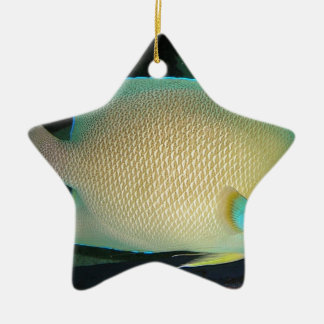 Blue-Tan-Green Tropical Fish Swimming in Water Ceramic Ornament
