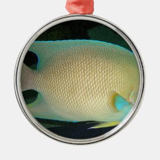 Blue-Tan-Green Tropical Fish Swimming in Water Metal Ornament