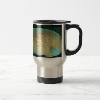 Blue-Tan-Green Tropical Fish Swimming in Water Travel Mug