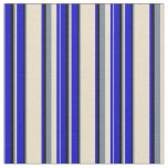 [ Thumbnail: Blue, Tan, Light Slate Gray & Black Colored Lines Fabric ]