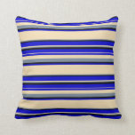 [ Thumbnail: Blue, Tan, Light Slate Gray & Black Colored Lines Throw Pillow ]