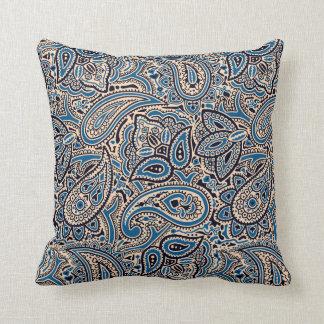 Blue & Tan Paisley Throw Pillow