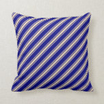 [ Thumbnail: Blue & Tan Pattern Throw Pillow ]