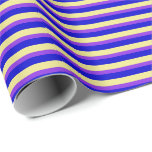 [ Thumbnail: Blue, Tan & Purple Striped/Lined Pattern Wrapping Paper ]