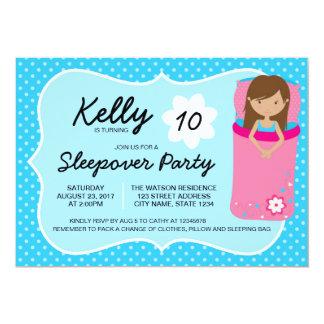 Blue Tan Sleepover Party Birthday Invitation