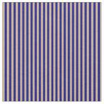 [ Thumbnail: Blue & Tan Striped Pattern Fabric ]