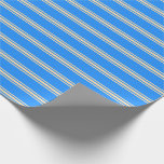 [ Thumbnail: Blue & Tan Striped Pattern Wrapping Paper ]