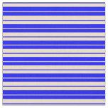 [ Thumbnail: Blue & Tan Stripes/Lines Pattern Fabric ]