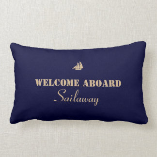 Blue Tan Welcome Aboard Boat Nautical Lumbar Pillow