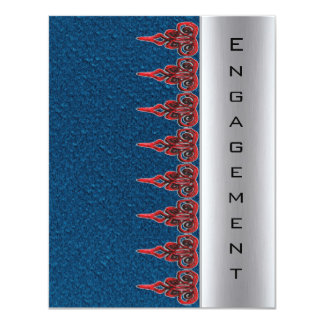 Blue tand red lace engagement invitation
