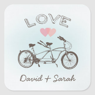 Blue Tandem Bicycle Love Sticker