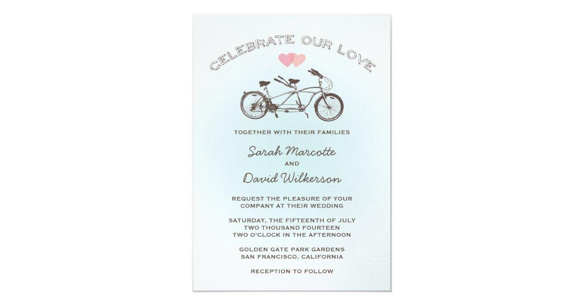 Tandem Bike Wedding Invitations: Blue Tandem Bicycle Wedding Invitation