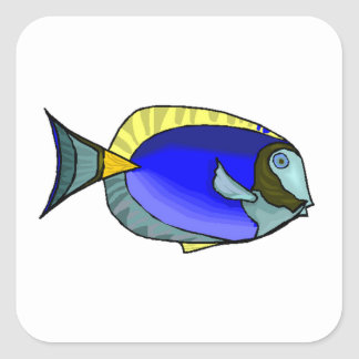 Blue Tang Fish Square Stickers