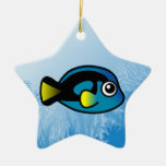 Blue Tang Double-Sided Star Ceramic Christmas Ornament
