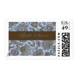Blue Tapestry - Bridal Shower Postage Stamp