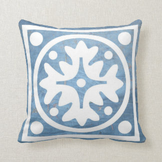 Blue Tarp White Floral Cross and Circles Pillow