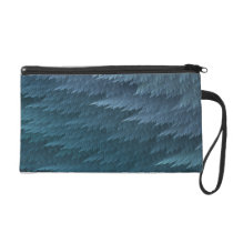 Blue Tartan Feather Pattern Wristlet
