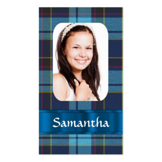 Blue tartan photo template business card