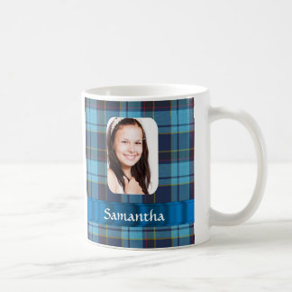 Blue tartan photo template coffee mug